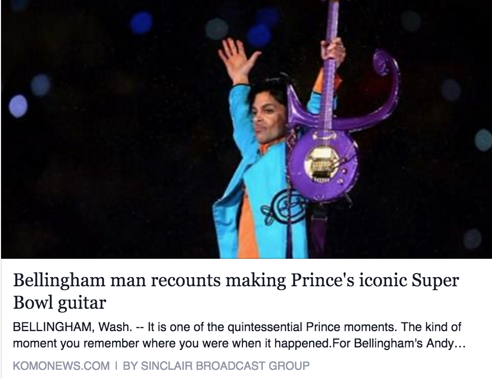 KOMO 4 News interview d'haitre guitars, Andy Beech - On Prince Passing